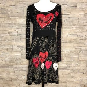 Desigual black and red dress with sequinned heart